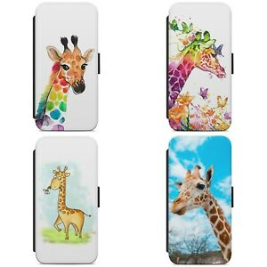 Painted Rainbow Giraffe Animal WALLET FLIP PHONE CASE COVER FOR IPHONE SAMSUNG
