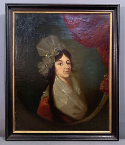 Ca.1880 Antique 19thC 1790's COLONIAL LADY PORTRAIT Old VICTORIAN Oil PAINTING