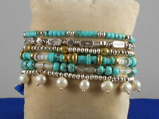 Lucky Brand Two Tone Faux Pearl Turquoise Multi Strand Beaded Bracelet JWEL0349