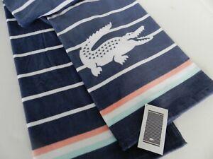 "Lacoste Oversized Striped Beach Pool Bath Towel 100% Cotton 36""x72"" Sunbeam NWT"