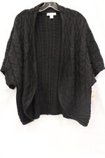 "NWT COLDWATER CREEK Black ""Cable Crescent Cardi"" Womens Size XL/16-B5"