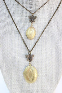 Mother and Daughter Matching Lockets vintage lockets with butterfly handmade