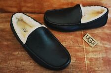 """UGG ASCOT LEATHER GRAIN SLIPPERS , MENS US 9, COLOR: BLACK,  ,  """"AUTHENTIC"""""""