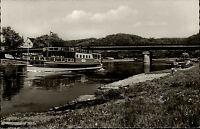 Jod Solbad Bodenwerder Weser ~1950/60 Weserpartie mit Weserbrücke und Schiff