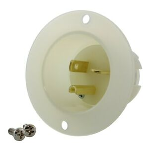 20 Amp 125 Volt NEMA 5-20P White/Clear Flanged Power Male Inlet by AC WORKS®