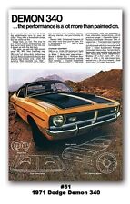 13x19 1971 DODGE DEMON 340 MOPAR ART HUGE AD POSTER 318 SCAT PACK MUSCLE DART