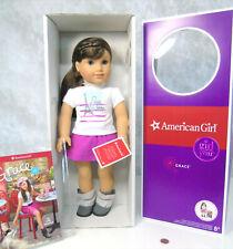"NEW 18"" American Girl GRACE DOLL GOTY Meet Outfit Bracelet Brown Hair Blue Eyes!"