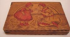 Old 1920s Wood Flemish Art Trinket Box w/ Girls Petting Baby Easter Chicks NICE!