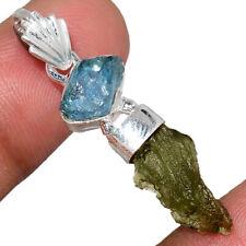 Genuine Czech Moldavite & Aquamarine Rough 925 Silver Pendant Jewelry AP218657