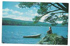 Little Boy & Row Boat WEBSTER LAKE Franklin New Hampshire NH Postcard KOPPEL