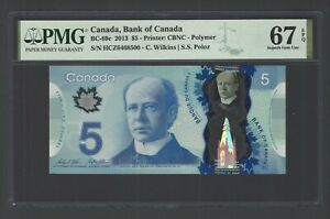 Canada 5 Dollars 2013 BC-69c Uncirculated Graded 67