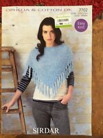 Womens knitting patterns.poncho.size 24-46 inch bust.DK.girls pattern.Sirdar