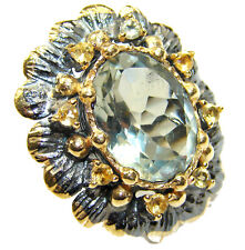 Green Amethyst Ring size: 7 925 Sterling Silver + Free Shipping  by SilverRush S