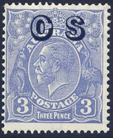 "AUSTRALIA 1932-33 OFFICIAL 3D WITH UNLISTED DAMAGED ""O"" VARIETY VFUM. SG O131."