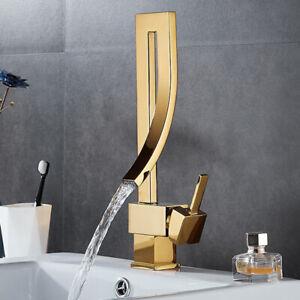 Bathroom Gold Basin Faucet Waterfall Mixer Unique Tap Deck Mount Single Handle