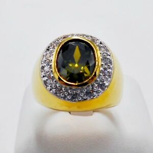 MEN RING GREEN PERIDOT 24K YELLOW GOLD FILLED GP SOLITAIRE ESTATE DOME HUGE # 11
