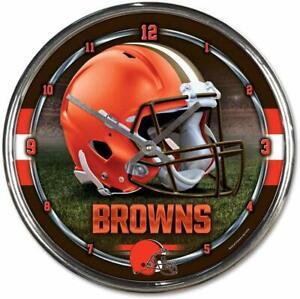 NFL Cleveland Browns Wall Clock Chrome Watch Football