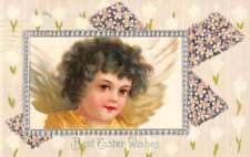 Easter Greetings Angel Cherub Flowers Vintage Postcard JF685826