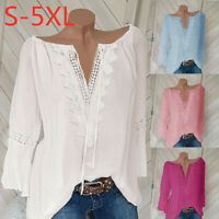 Women Plus Size Loose Print V-neck Solid Lace Blouse Pullover Tops Shirt