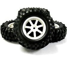 A960030 1/10 Scale OFF ROAD ROCK CRAWLER Ruote e Pneumatici 4 PLASTICA BIANCA 7 SPOKE
