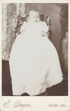 1899 CABINET CARD PORTRAIT OF WIDE-EYED BABY IN LARGE WHITE DRESS - DOVER, DE