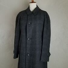 VTG 60s MOD Charcoal Gray Glen Plaid Over Coat PENNEYS 42 reg CLASSIC Indie