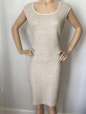 NWT St John Knit size 6 dress beige champagne tweed wool rayon
