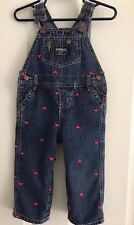 Overalls OshKosh B'gosh 18 Months  Baby Girl Denim with Embroidered Pink Hearts
