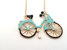 Enamel Turquoise Blue Bicycle Bike Pendant Gold Chain Necklace