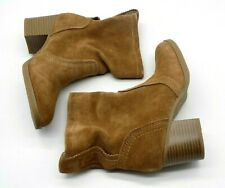 White Mountain Ankle Boots Size 5M Slouchy Genuine Suede Leather Behari Tan $99