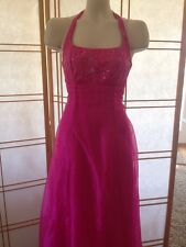 Shimmery Halter Lace Up Back formal pink Gown Size 5 Homecoming Prom Quinceañera