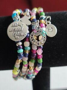 Michele's Attic FOUR (4) PC Seed Bead & Charm Bracelet Set - Love Love 534720