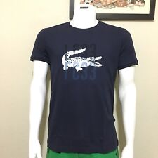 Lacoste Mens Big Croc Graphic Cotton Tee in Navy Blue, Size 4 (Small)