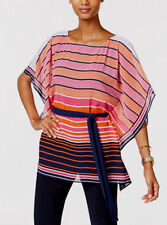 Michael Kors MS74L3K67K Striped Boat-Neck Tunic Top Mandarin S/M