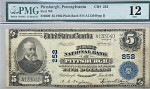1902 $5 1st National Bank of Pittsburgh, PA  PMG F 12 Plain Back FR# 606 CH# 252