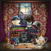 Storytime Cats - DIY Chart Counted Cross Stitch Patterns Needlework DMC Color