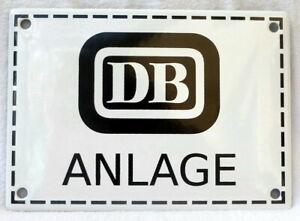Emailleschild DB ANLAGE 17x12 cm Bundesbahn Bahnanlage