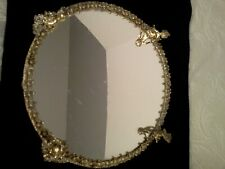 Silverplated Footed Vanity Dresser Mirror Tray Four Boys #837