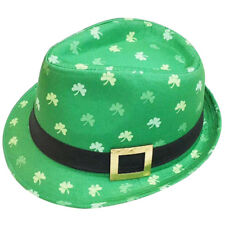 b96ebf91bb IRISH TRILBY HAT GREEN WITH SHAMROCKS BUCKLE ST PATRICKS DAY PARTY FANCY  DRESS