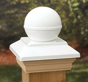 VC10 Post Cap Victoria White Ball Copper  Western Red Cedar - suit 90-94mm post
