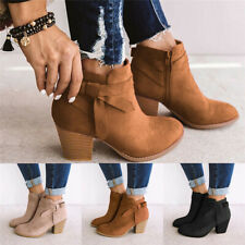 Ladies Women Chelsea Ankle Boots Block Mid Heel Bowknot Zip Booties Casual Shoes