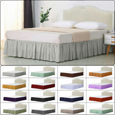 Elastic Bed Skirt Dust Ruffle Easy Fit Wrap Around Queen/King All Bed Size