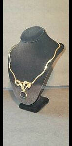 14 KT Gold Diamonds & 10 ct solitaire natural sapphire stone necklace chain