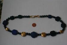 Lapis Lazuli-Kette(Blumen+Kugel, Graviert, L=56,5cm) L-0077/L