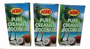 3 x KTC Pure Creamed Coconut Cream Milk,Quality Cooking Thickening Agent