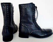 WOMEN DIESEL ARTHIK LACE UP BLACK LEATHER ANKLE MOTORCYCLE MILITARY BOOTS SZ 9