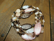 shell pearl crystal long length bead necklace brown pink cream