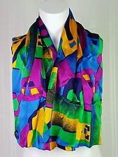 St John 100% Silk Scarf Blue Yellow Purple Green Geometric Color Block 15 x 43