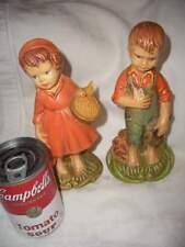 "VTG GARE INC ceramic boy girl figurines; 1972-73; 7-8"" feeding birds chickens"