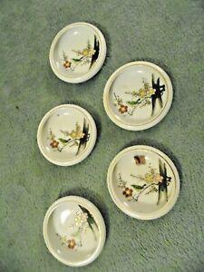 Vintage Japan Set of 5 Asian Dipping Sauce Bowls Floral design Gold Trim